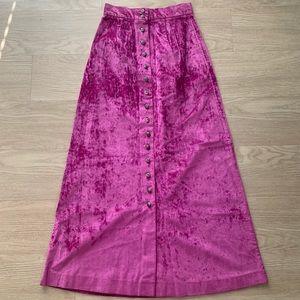 Vintage 1970 Fuchsia Purple Pink Velvet Maxi Skirt